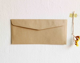 25 Kraft Envelopes Blank Envelope / Long Size