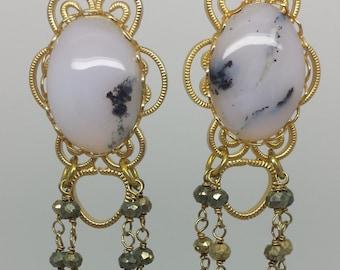 Moss Agate Pyrite Earrings