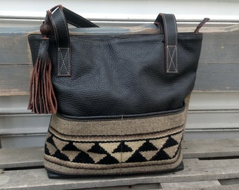 Ladies brown leather ethno handbag with handwoven textile. Leather bag with zipper. Mother's Day Gift. Ladies unique art bag.