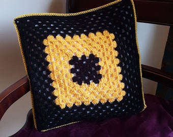 Vintage style yellow and black Crochet classic Granny Square Cushion Cover