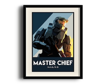 Halo 3 poster, Halo 3 digital art poster, Framed print, Matted print, Mounted print