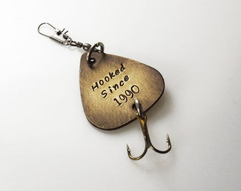 Personalized fishing lure, fisherman gift, Hooked since, Hand Stamped gift, Fishing Accessories, Spinner Bait, Father's Day, Anniversary