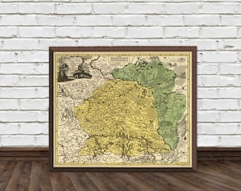 """Lithuania map - Old map of Lithuania - Archival print  - 16 x 19"""" Print"""