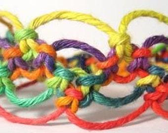 Rainbow Wave Hemp Bracelet - Made to Order
