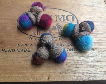 Triple Topped Felted Acorns, Needle Felted & Wet Felted. Multi-Colored