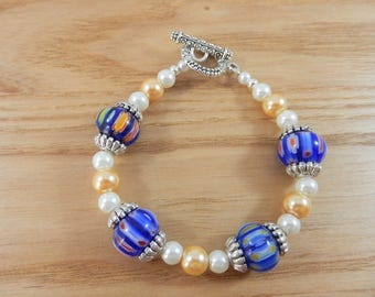 Chunky Cobalt Blue Pattern Bracelet, Gold White Pearl Bracelet, Deep Sea Blue Bracelet, Rainbow Colour Bead Bracelet, Mothers Day