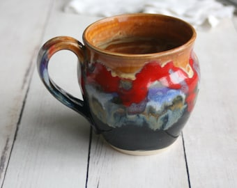 Handmade Pottery Mug in Dripping Multi Color Glazes 16 oz. Handmade Stoneware Coffee Cup Made in USA Ready to Ship