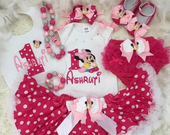 3-pc set Baby Minnie mouse Inspired Birthday outfit-Include Personalised Top,Hotpink polka dot skirt,matching headband