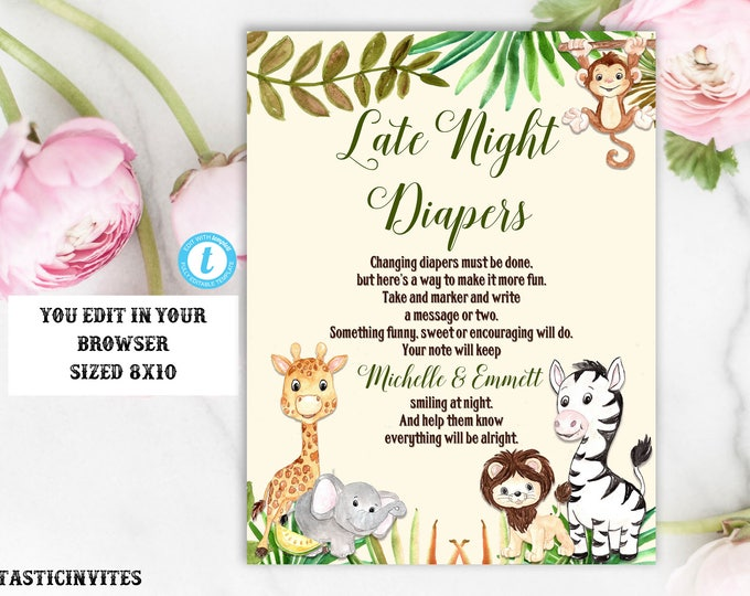 Late Night Diapers Sign Template, Jungle Baby Shower Sign, Safari Baby Shower Sign, Shower Decor, Jungle Late Night Diapers Sign, Template