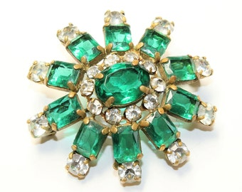 Art Deco Starburst Sparkly Green Clear Rhinestone Diamante Gold Coloured Vintage Brooch (c1940s)