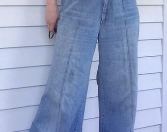 70s Turtle Bax Jeans Wide Leg Denim 28 Inseam 30 Waist Altered Vintage 15