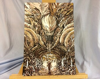 """ALIENS     Hand Painted  James Cameron    Acrylic Paint on Stretched Canvas    12"""" x 16"""""""