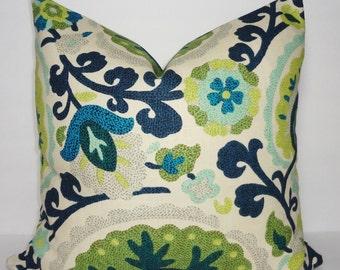 KAS Richloom Cavallo Bluebird Green Suzani Pillow Cover Linen/Flax Decorative Pillow Cover 18x18