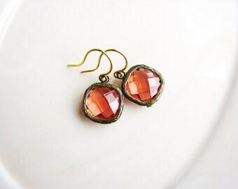 Pink Bezel Earrings, Small Jewel Earrings, Square Bezel Glass Gem Earrings, Glass Earrings, Estate Style Earrings, Glam Minimalist Earrings