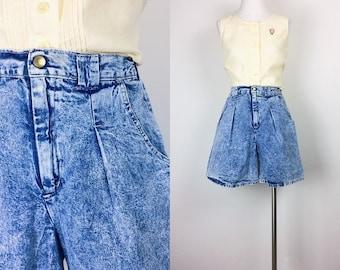 vintage denim shorts acid wash shorts high waist shorts size S/M Made in USA