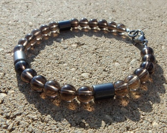 Smoky Quartz 6mm Brown Beaded Bracelet - Jewelry for him, her, great stacker, clear natural beads, mysterious