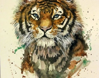 "Original Watercolor Painting, Tiger, 17010507, 10""x8"", with Mat"
