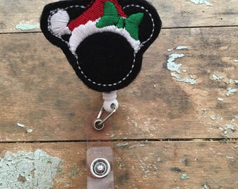 Christmas Minnie Mouse ID badge reel holder retractable clip