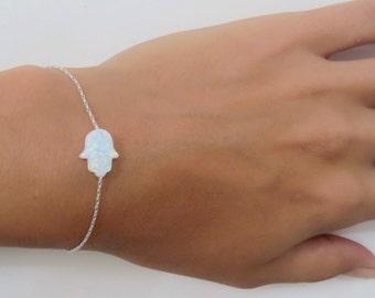Opal hamsa bracelet, white opal hand bracelet, opal bracelet, sterling silver bracelet, evil eye bracelet, silver hand bracelet opal jewelry