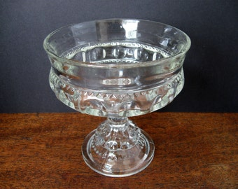 Vintage King's Crown Thumbprint Clear Glass Compote