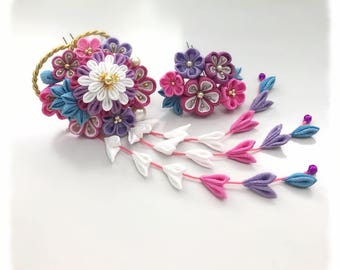 "Thumb filigree flower Hairpin ""紫桃 types"""