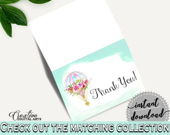 Thank You Card Baby Shower Thank You Card Hot Air Balloon Baby Shower Thank You Card Baby Shower Hot Air Balloon Thank You Card Green CSXIS