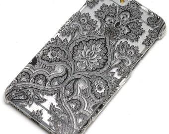 Black Paisley Damask Floral Mandala Transparent Clear Phone Case iPhone 6, 7, SE, 6 Plus, 7 Plus, 6S, 5, 5S, Galaxy S6, S7, Note 5, Note 7