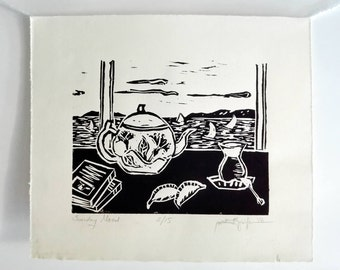 Original Handmade Linocut Print, Limited edition, small size art, black ink, Sunday mood, Turkish tea glass, teapot, wall decor, block print