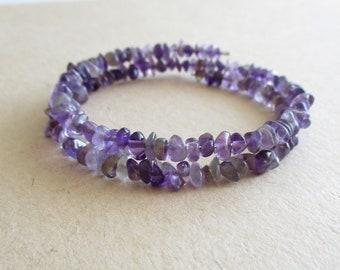 Amethyst gemstone chip beads memory wire bracelet