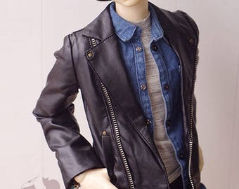 BJD SD13 SD17 SD 1/3 black motorcycle p leather jacket