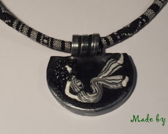 Necklace with hand made polymer clay pendant