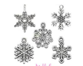 Set of 5 charms snowflakes Christmas scrapbooking card *.