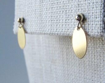 Gold filled dangle drop earrings, modern minimalist earrings, tiny earrings, dainty oval shape earrings, gold filled ball post drop earrings