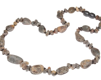 Genuine Natural Raw Baltic Amber Necklace For Adult Gray unpolished 44 - 46 cm