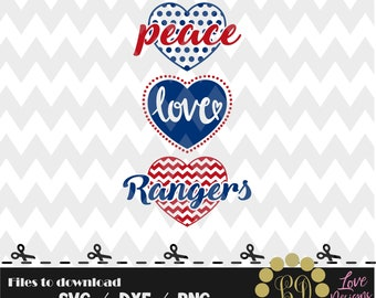Peace Love Rangers baseball svg,png,dxf,cricut,silhouette,jersey,shirt,proud,birthday,invitation,sports,cut,girl,love,softball,decal,texas