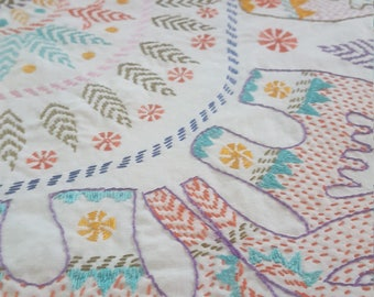 Beautiful Hand Embroidered Bed Coverlet