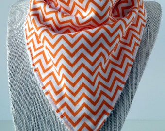 Bandana Bib - Cotton/Bamboo - Cotton/Terry cloth - Chevron Orange