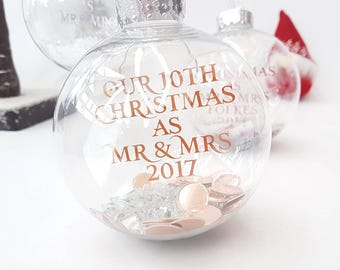 Anniversary Christmas gift · Personalised bauble · 10th anniversary gift · Floating writing · Foil writing · Scatter gems inside bauble