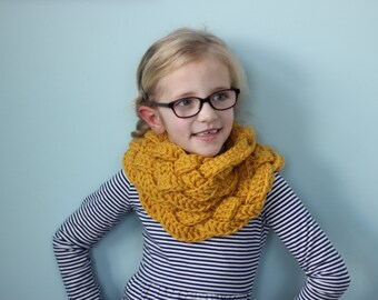 Rapunzel Braided Crochet Cowl, Infinity Scarf - Girls, Teen, Womens - Custom Colors Available