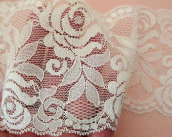 """Wide Stretch Lace Trim. 3.5"""" Width. Wide White Stretch Lace. Sold by the Yard.  You Choose Quantity!"""