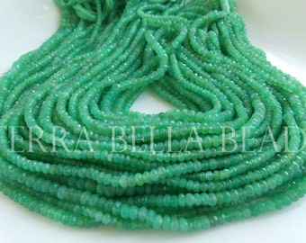"""13"""" strand green AAA CHRYSOPRASE faceted gem stone rondelle beads 3.5mm"""