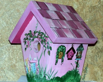 Bird House Hand Crafted, Hand Painted, Indoor/Outdoor, Shades Of Magenta, Great Gift for Mothers Day, Christmas, Birthday