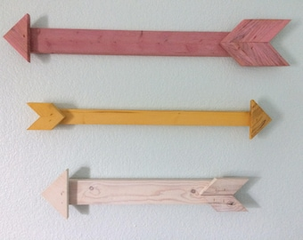 Reclaimed rustic wooden decorative arrow primitive wood arrow decor