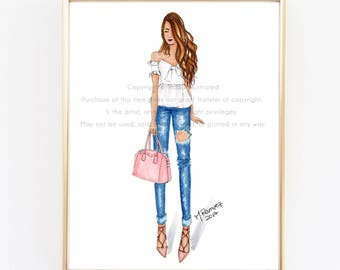 Fashion Illustration Print, Boos Babe, Chic Wall Art, Fashionista Art Print, Denim and Pink, Glam Room Decor, Gallery Wall, Chic Sketch