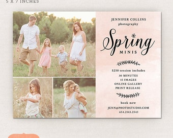Spring Mini Session Template - spring marketing board MS013 - Photoshop template INSTANT DOWNLOAD