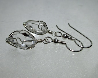 "ww1293 - 3/8""+ Wirewrap HERKIMER DIAMOND EARRINGS - Argentium Sterling Silver"