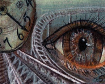 original art  aceo drawing eye watching time clock roller coaster surreal
