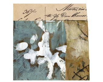 """Optional Written Work - Collage with Hand Painted Papers 4.5 x 4.5"""" on 6 x 7.5"""" Backing"""