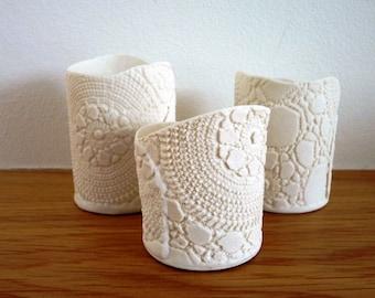 Ceramic Tea Light Holder Porcelain Tea Lights Candlestick Lace Tealight Set of 3 Translucent Bisque Porcelain Votive Home Decor Gift for Her