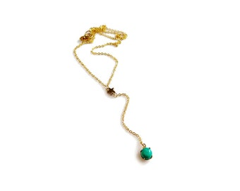 Y Turquoise Necklace Gold, Gold Lariat Necklace, Everyday Dainty Necklace